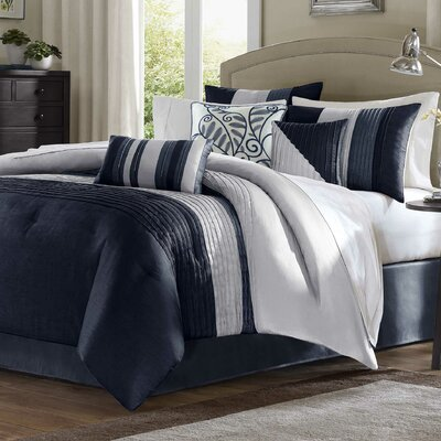 Morell 7 Piece Reversible Comforter Set Size: California King, Color: Navy