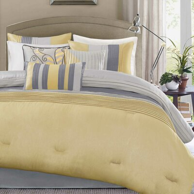 Morell 7 Piece Reversible Comforter Set Size: Queen, Color: Yellow