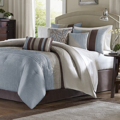 Morell 7 Piece Reversible Comforter Set Size: King, Color: Blue