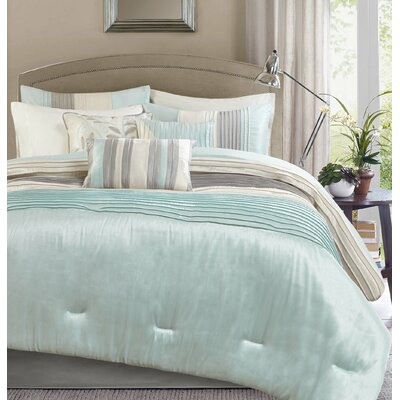 Morell 7 Piece Reversible Comforter Set Size: Queen, Color: Aqua