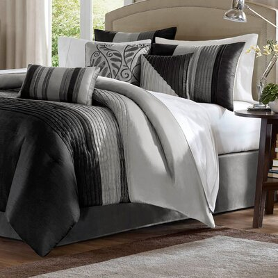 Morell 7 Piece Reversible Comforter Set Color: Black/Gray, Size: Queen
