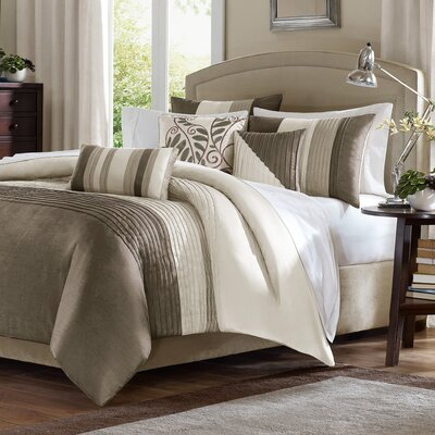 Morell 7 Piece Reversible Comforter Set Color: Natural/Tan, Size: King