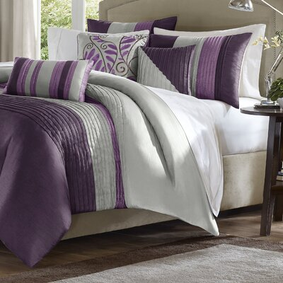 Morell 7 Piece Reversible Comforter Set Size: California King, Color: Purple/Gray