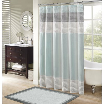 Morell Shower Curtain Color: Natural / Trinity Blue, Size: 72 W x 72 H