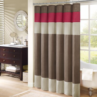 Morell Shower Curtain Color: Natural/Monroe Red, Size: 72 W x 72 H