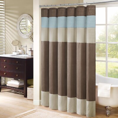 Berardi Shower Curtain Size: 72 W x 72 H, Color: Natural/Trinity Blue