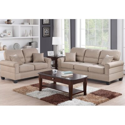 Boyster Sofa and Loveseat Set Upholstery: Sand