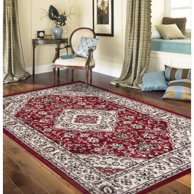 Brainard Red Area Rug Rug Size: 53 x 73