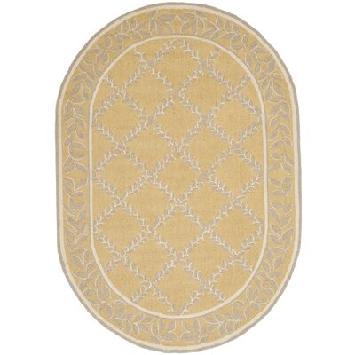Helena Yellow/Grey Area Rug Rug Size: Oval 46 x 66
