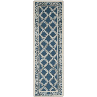 Helena Navy/Cream Area Rug Rug Size: Runner 26 x 12