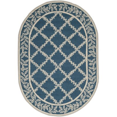 Helena Navy/Cream Area Rug Rug Size: Oval 46 x 66