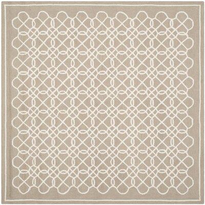Helena Tan/Ivory Area Rug Rug Size: Square 6