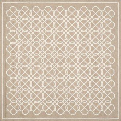 Helena Tan/Ivory Area Rug Rug Size: Square 8