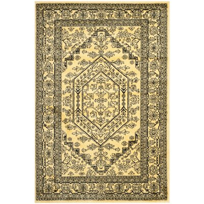 Dubuque Gold/Black Area Rug Rug Size: Runner 26 x 12