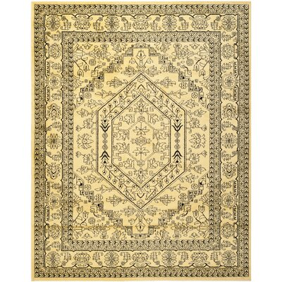 Dubuque Gold/Black Area Rug Rug Size: Round 4