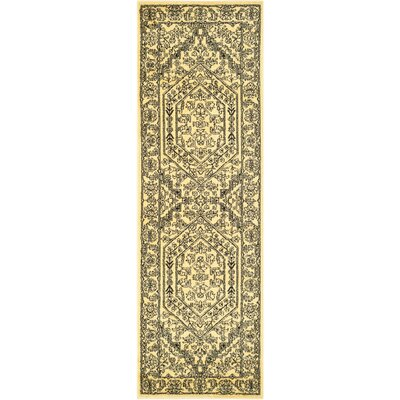 Dubuque Gold/Black Area Rug Rug Size: Runner 26 x 16