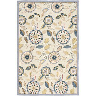 Helena Ivory/Blue Area Rug Rug Size: Rectangle 26 x 4