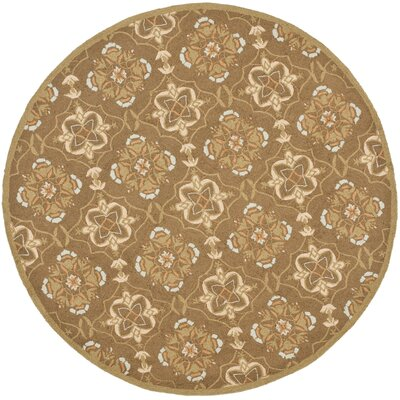 Helena Brown/Green Rug Rug Size: Round 8