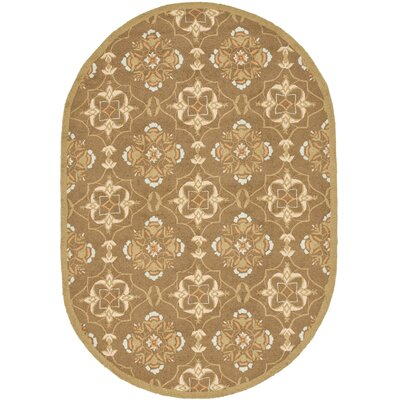 Helena Brown/Green Rug Rug Size: Oval 46 x 66