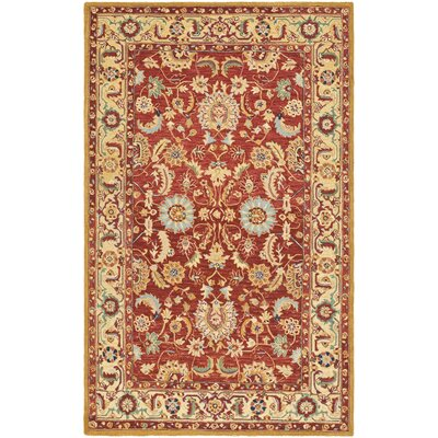 Helena Red/Ivory Area Rug Rug Size: Rectangle 39 x 59