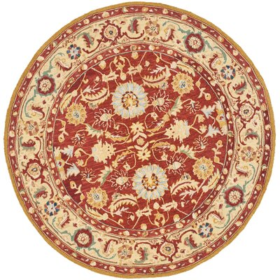Helena Red/Ivory Area Rug Rug Size: Round 56