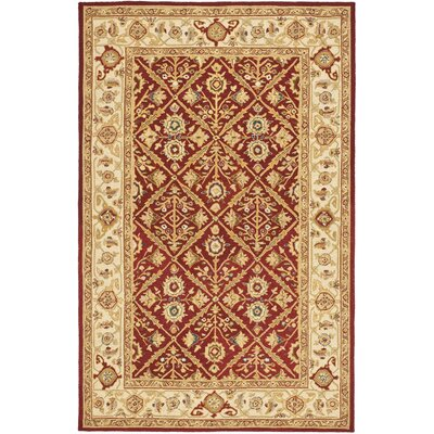 Helena Ivory/Red Area Rug Rug Size: 89 x 119