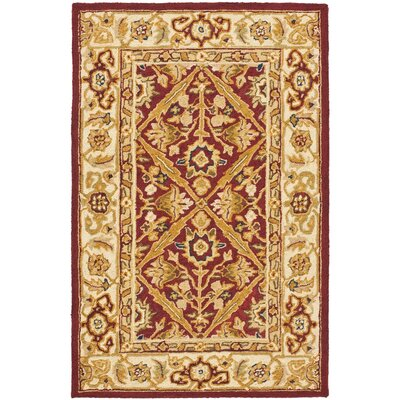 Helena Ivory/Red Area Rug Rug Size: 6 x 9