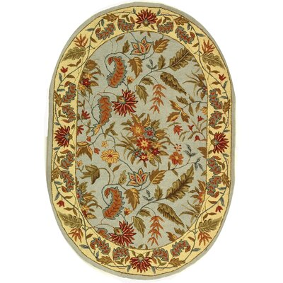 Helena Light Blue Area Rug Rug Size: Oval 46 x 66