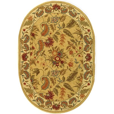 Helena Beige&Red Missy Floral Area Rug Rug Size: Oval 76 x 96