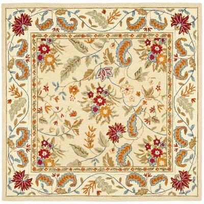 Helena Missy Floral Hand Hooked Wool Ivory/Red Area Rug Rug Size: Square 8