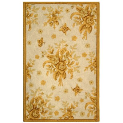 Helena Ivory/Gold Rug Rug Size: Rectangle 26 x 12