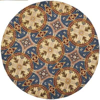 Colesberry Blue/Gold Area Rug Rug Size: Round 7