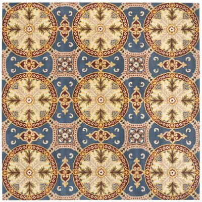 Colesberry Blue/Gold Area Rug Rug Size: Square 7