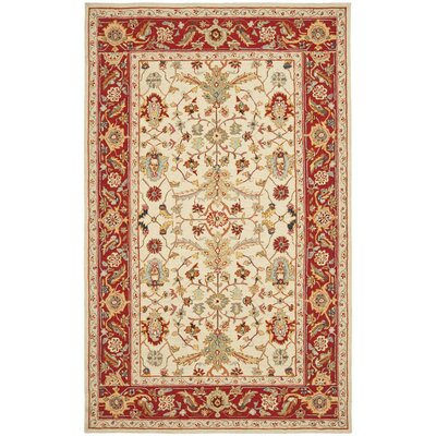 Helena Ivory&Red Area Rug Rug Size: 79 x 99
