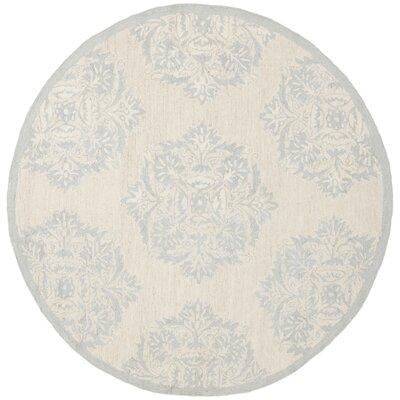 Helena Blue&Ivory Area Rug Rug Size: Round 4
