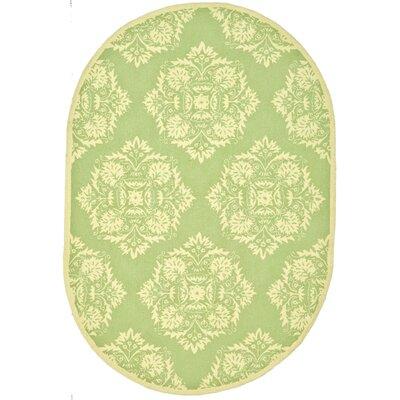 Helena Green/Beige Rug Rug Size: Oval 46 x 66