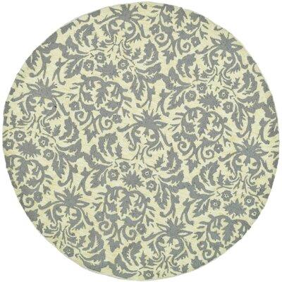 Helena Beige Yellow/Grey Area Rug Rug Size: Round 56