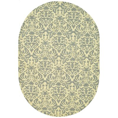 Helena Beige Yellow/Grey Area Rug Rug Size: Oval 46 x 66