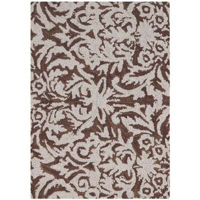 Helena Hand-Hooked Brown/Gray Area Rug Rug Size: Rectangle 39 x 59