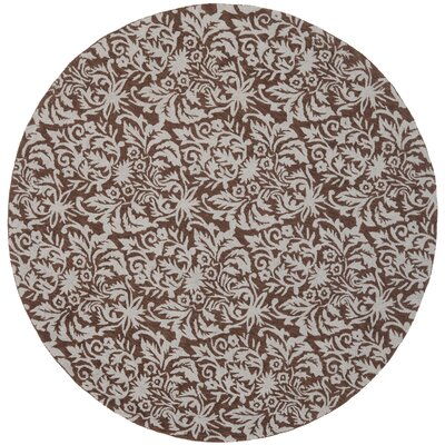 Helena Hand-Hooked Brown/Gray Area Rug Rug Size: Round 56