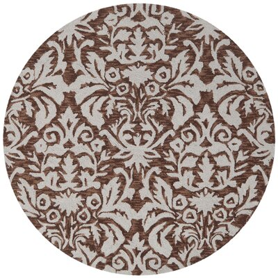 Helena Hand-Hooked Brown/Gray Area Rug Rug Size: Round 3
