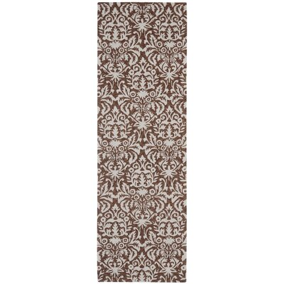Helena Hand-Hooked Brown/Gray Area Rug Rug Size: Runner 26 x 12