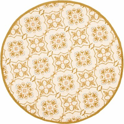 Helena Ivory/Orange Area Rug Rug Size: Round 3