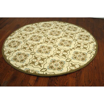 Helena Ivory/Orange Area Rug Rug Size: Round 4