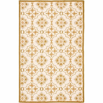 Helena Ivory/Orange Area Rug Rug Size: 29 x 49