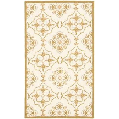 Helena Ivory/Orange Area Rug Rug Size: Rectangle 26 x 4