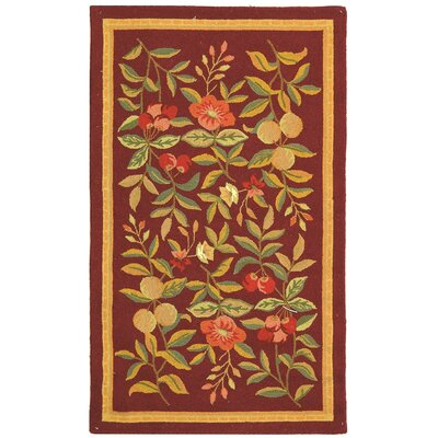 Helena Hand-Hooked Wool Burgundy Area Rug Rug Size: Rectangle 29 x 49