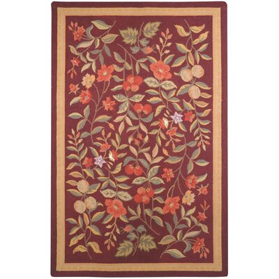Helena Hand-Hooked Wool Burgundy Area Rug Rug Size: Rectangle 89 x 119