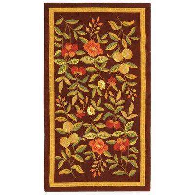 Helena Hand-Hooked Wool Burgundy Area Rug Rug Size: Runner 26 x 6