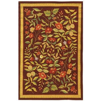 Helena Hand-Hooked Wool Burgundy Area Rug Rug Size: Rectangle 39 x 59